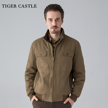 TIGER CASTLE Men Cotton Tactical Jacket Windbreakers Casual Male Reversible Clothing Pilot Jacket Mens Khaki Army Jacket 4XL(China)