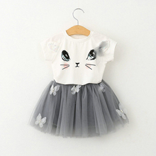 Newest Summer Toddler Kids Baby Girls Outfits Clothes T-shirt Tops+Tutu Skirt 2pcs Girls Skirt Clothes Set For 2-6Y