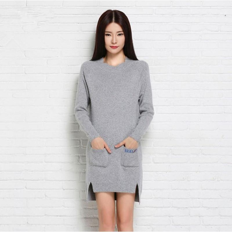 Plus Size Women Sweater Cashmere Knitted Winter Warm dress with pocket pullovers Ladies Long sweater 2016 Hot Sale Thick ClothesÎäåæäà è àêñåññóàðû<br><br>