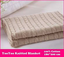 YooYoo Knitted Blanket / 100% Cotton Knitted Throw Super Soft Warm Cover Blanket Cable Knit, 70*78 Inch 180*200cm