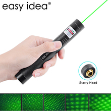 EASYIDEA Green Laser Pointer 532nm 5mW 303 Laser Pen Adjustable Powerful Starry Head Burning Match With 18650 Battery+Charger