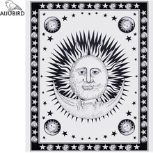 Square tapestry wall tapestry European and American beach mat black and white sun moon printed beach towel The tablecloth shawls