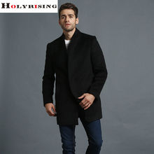 New Fashion Autumn Winter Men Wool Coats Busniess Turn Collar Jackets Solid Outwear Male Clothing Black Gray M-3XL Holyrising