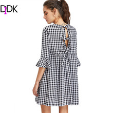 DIDK Bow Tie Open Back Fluted Sleeve High Waist Gingham Dress Summer Cute Girl Vintage Black White Plaid - Official Store store