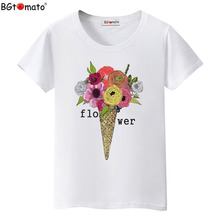 BGtomato Factory store original brand good quality clothes flowers printing beautiful T-shirts wholesale price drop shipping 343