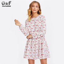 Dotfashion Allover Flamingo Print Smock Dress 2017 Women Round Neck White Drop Waist Dress Ruffle Long Sleeve A Line Dress(China)
