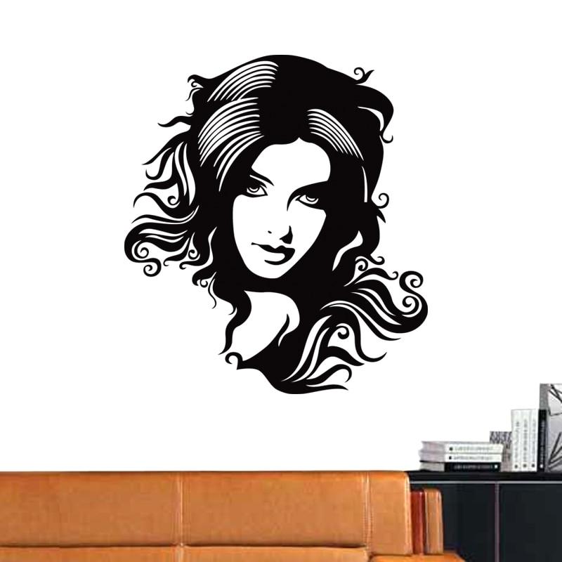 Hair Salon Sticker Beauty Scissors Decal Haircut Name Posters Vinyl Wall Art Decals Decor Decoration Mural Salon Sticker M0040