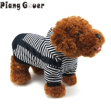 Big Size Clothes Puppy Hoodies Jackets Coat Outfit For Dog Breeds Small Pet Costumes 100% Cotton Striped vetement chien(China)