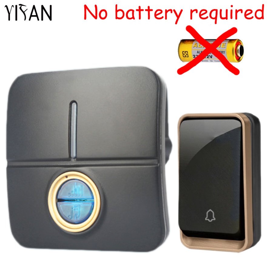 YIFAN New Wireless Doorbell NO battery Waterproof 150M Remote EU Plug led light home Door Bell Chime 1 2 button 1 2 receiver