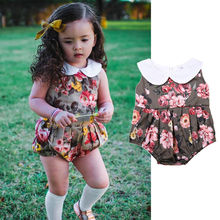 Baby girl romper  baby clothes white cotton rose floral printed outfits baby clothes 0-24M  imported