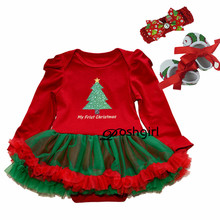 Newborn Baby Girl Christmas Dress Xmas Outfits Baby Baptism Dresses Birthday Kids Dress Cute Tutu Long Sleeve Rompers 2018 new(China)
