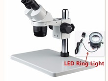 XT-60-B3 Zoom Stereo Binocular Microscope with LED Ring Light in Industrial, Medical and Scientific Research Areas(China)