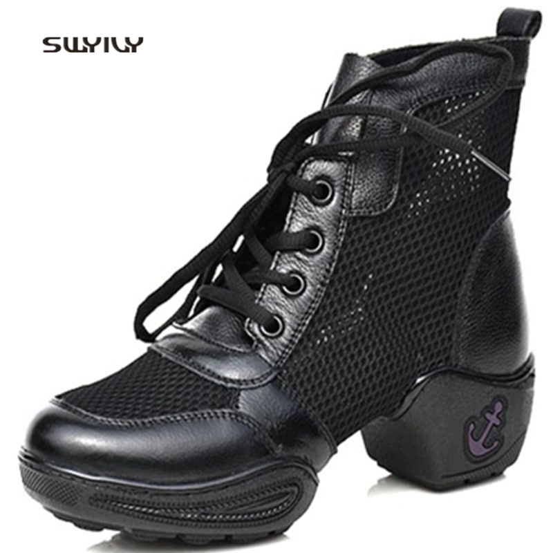 SWYIVY Women Dance Shoes Fitness Breathable Modern Dance Shoes 2018 Genuine Leather Lace-up Female Sneakers Large Size 41