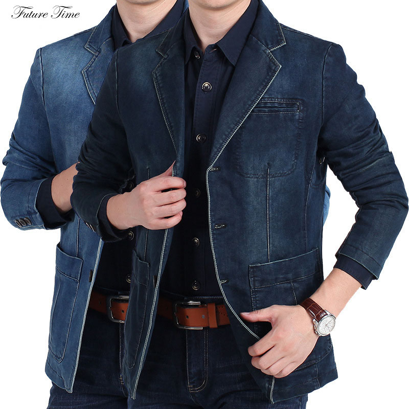 Men Jeans Jacket Spring Autumn Fashion Casual Blue Denim Jackets Long Sleeve Solid Color Brand Clothing Outwear C1849
