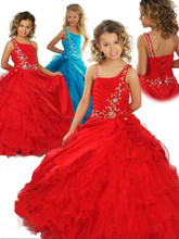Girls Pageant Dresses ball gown Spaghetti Straps Ruched Organza And Taffeta Red Flower Girl Dress Custom Made Size(China)