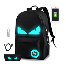 Nylon men's Casual backpack Luminous Printing cartoon man school book bags fashion Teenagers boys college daypack backpacks