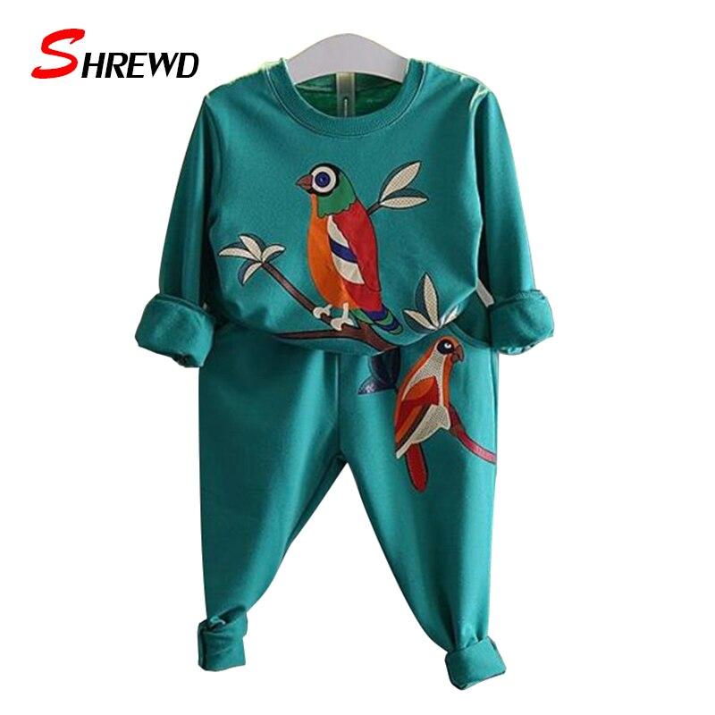 Spring 2017 New Kids Clothing Sets Cartoon Birds Print Kids T Shirt Long Sleeve+Pants Elastic Waist Simple 2 Piece Clothes 3535W<br><br>Aliexpress