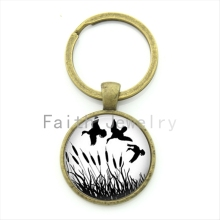 Hunting ducks key chain simple vintage black white art picture keychain handmade hunter jewelry gift KC194