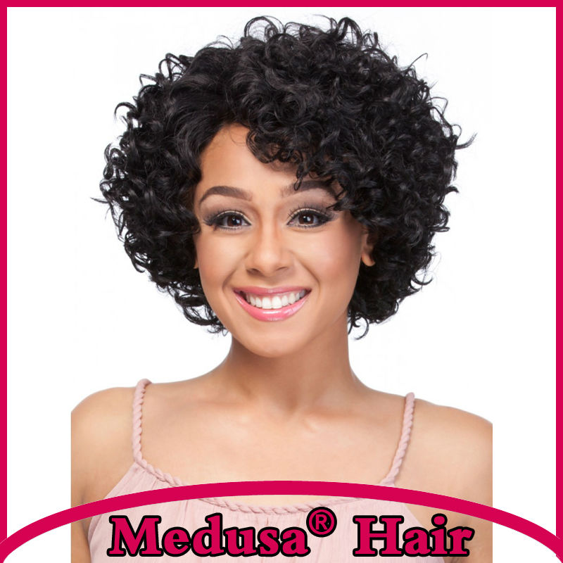 Medusa hair products: African american Synthetic pastel wigs Medium length curly shag style black Afro lace front wig SW0447<br><br>Aliexpress