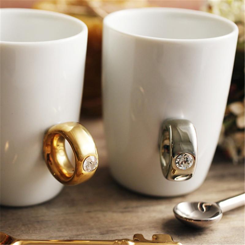 Creative Wedding Gifts Lovers Couple Cartoon Elegant Crystal Diamond Ring Mugs White Ceramic Cute Water Coffee Mug Drinkware6