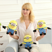 3 pcs 18cm toys despicable me Creative 3D eyes yellow doll soybeans doll plush toys free shipping