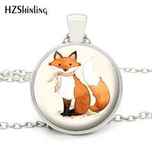 MINI-0015 High Quality New Red Fox Necklace Woodland Creature Jewelry Handmade Animal Art Glass Fox Necklaces for Women Gift