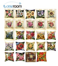 5th Flowers 04 Acrylic Yarn Embroidery Pillow Tapestry Cushion Front Cross Stitch Pillowcase DIY needlework(China)