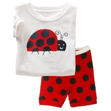 Hooyi Ladybug Girl's Pajamas Children Clothing Set Polka Dot 100% Cotton Girl Sleepwear pijama kids pyjama t-shirt Short Pants(China)
