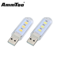 Led Night Light Mini 3Led USB Lamp Book Lights Reading Bulb Nightlight For PC Laptop Computer, Extension Cable Sold Separately(China)