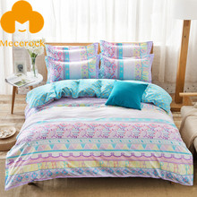 2017 MECEROCK Spring New Printed Pastoral style Duvet Cover Set Flat Sheet Pillowcases Twin Full Queen Polyester Bedding Set
