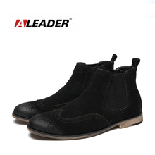 Aleader New Luxury Fashion Boots Men Leather Chelsea Boots Wedding Party Men Dress Shoes Casual Ankle Boots For Men Cowboy Botas