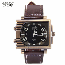 Buy Men Big Rectangle Dial Black Quartz Analog Watch Men Military Watch Sport Genuine Leather WristWatches Women Clock W1838 for $50.92 in AliExpress store