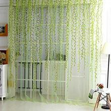 Hot Willow Pattern Voile Tulle Room Window Screening Curtain Sheer Panel Drapes