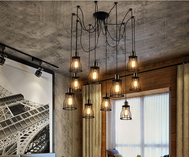 Vintage Spider pendant lights luminaire lamp Loft E27 Industrial Lighting Retro Loft Hanging Suspension Fixtures Home 110V 220V