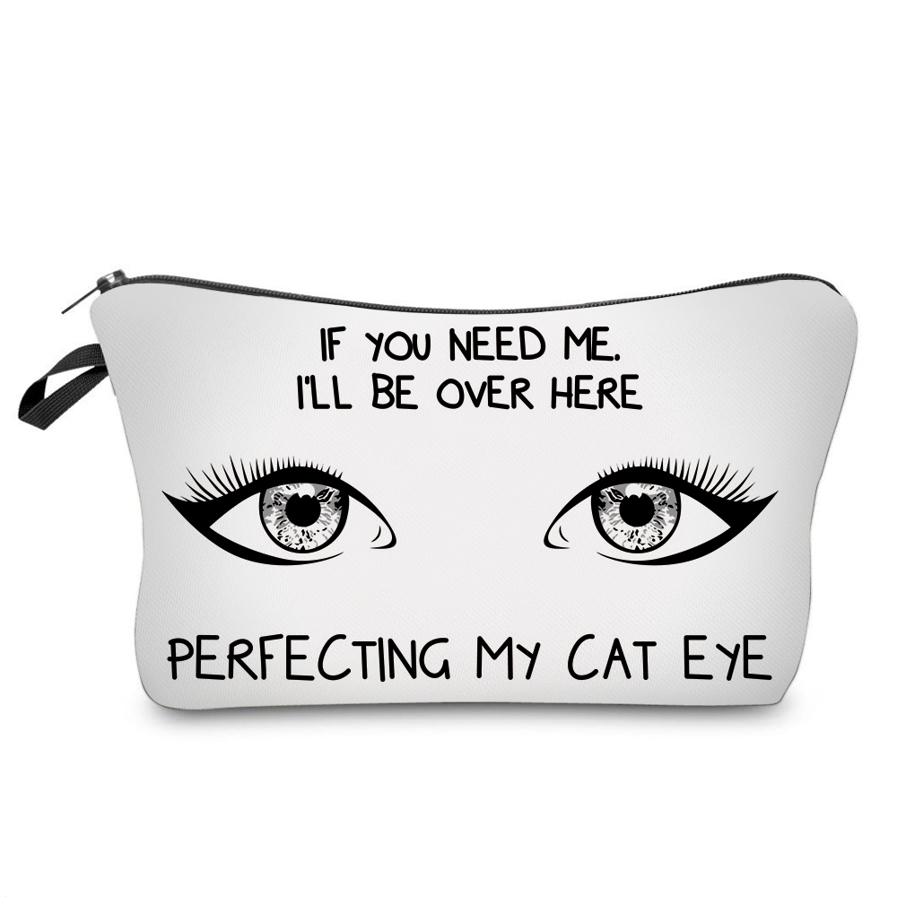 """I Like My Eyelashes"" Printed Makeup Bag Organizer 18"