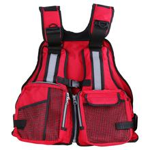 Outdoor Fishing Vest Safety Jacket Water Sports Sailing Swimming Life Saving Jacket Floating Vest Red Multi-pocket Float Vest(China)