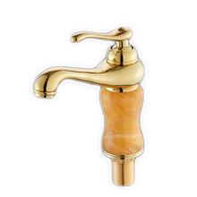 Free Shipping Golden cold jade stone bathroom basin mixer tap with deck mounted gold brass bathroom basin sink water faucet