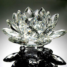 3D Lotus Crystal Glass Home Decoration Paperweight Ornament Feng Shui Flower Decor Collection Adornment(China)