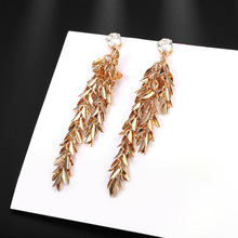 2017 New Design KC Gold Color Wheat Ears With Big Cubic Zirconia Stone Party Tassels Earrings For Women E16(China)