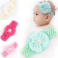 High quality nice headbands kids kids elastic ribbon headband hairband 69-2,accessories 4 colors retail lace flower pearl(China)