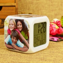 customize Family photo LED 7 Colors change digital ledclock  touch light  toys Christmas Halloween birthday gift
