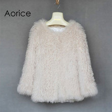 cr006 New HOT! genuine fleece wool  fur coat  white color women fur jacket long style brand new women knitted fur coats