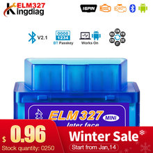 Mini ELM327 Bluetooth 2.0 Interfaccia V2.1 OBD2 OBD 2 Diagnostico Auto-Tool ELM 327 Funziona SU Android Torque/ PC v 2.1 BT adattatore(China)
