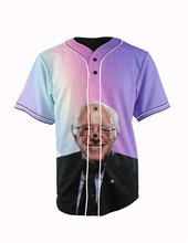 Real American Size  rainbow bernie  3D Sublimation Print Custom made Button up baseball jersey plus size