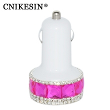 CNIKESIN Diamond Bling 2 USB Car Charger For Iphone 6 7 plus Samsung OPPO Xiaomi note 4x Max Handmade Rhinestone Car Usb Charger