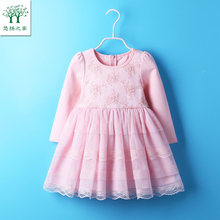 2017 Cute Baby Girl Dress Cotton Autumn spring Clothing For School Casual Wear Clothes long sleeve pink 18m tutu 3t 4t 5t 6t(China)