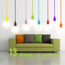 1Pcs DIY Personality E27 13 Colorful Silicone Pendant light holder with 100cm For LED bulb lamp Christmas Wedding Decoration