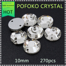 High Quality strass button 270pcs/lot 10mm clear crystal rhinestone trim flatback sew on rhinestones for clothing SPYPCR