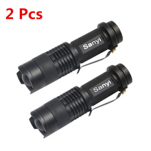 2Pcs Mini Zoomable Penlight LED Flashlight Black 2000lm Waterproof Torch Light 3Modes Adjustable Focus Pocket Handy Lantern(China)