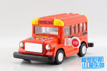 Candice guo alloy car model Kinsmart plastic motor toy cartoon style student school bus truck collection children christmas gift(China)